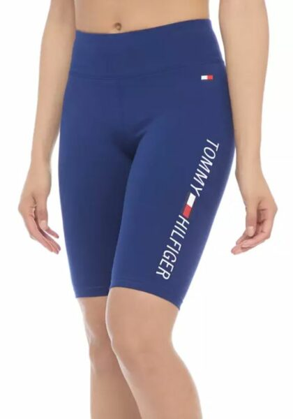Tommy Hilfiger Sports Women's High Rise Bike Shorts With Printed Logo