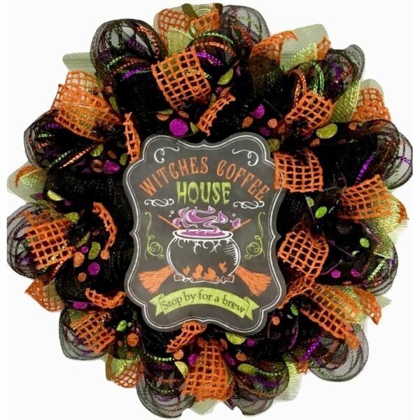 """Witches Coffee House Stop by for a Brew 24"""" Deco Mesh Wreath"""
