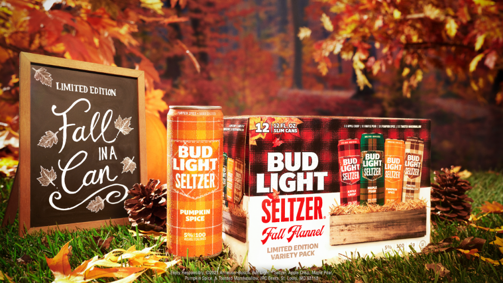 A flannel patterned can of bud light seltzer with fall leaves