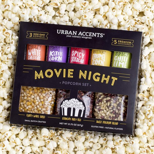 Urban Accents Movie Night Popcorn Kernels and Seasoning Variety Pack